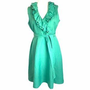 APPRAISAL Dress Aqua Green Ruffle Neck Sleeveless